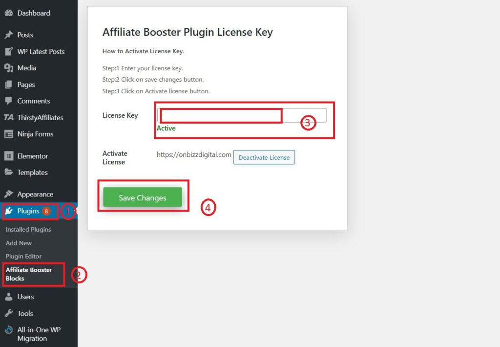 Affiliate booster plugin activation